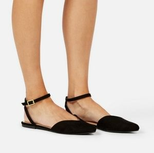 JustFab Black Pointed Toe Flats Shoes Size…